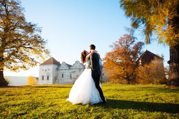 Gelukkig huwelijkspaar die donkerbruine bruid en bruidegom charmeren die in het park dansen