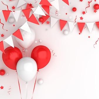 Gelukkig indonesië onafhankelijkheidsdag decoratie achtergrond met ballon bunting vlag