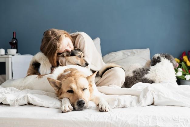 Gelukkig jonge vrouw zittend in het bed met haar honden, blauwe muur achtergrond, focus op hond