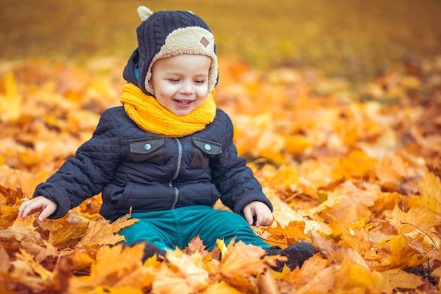 Gelukkig jongetje in het herfstpark Premium Foto