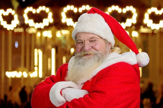 Gelukkig kerstman, close-up portret.