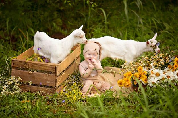 Gelukkig kind jongen met witte geiten in het voorjaar op natuur in het dorp met groen en bloemen.