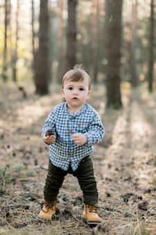 Gelukkig kind jongetje stijlvolle geruite shirt, broek en schoenen dragen, staat in park of herfst dennenbos