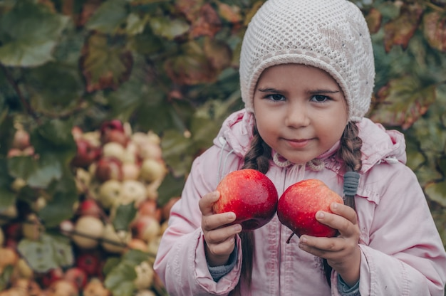 Gelukkig kind met rode appels in zijn handen. oogst grappige jongen buiten in herfst park.