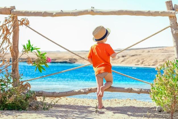 Gelukkig kind spelen aan zee op natuur achtergrond