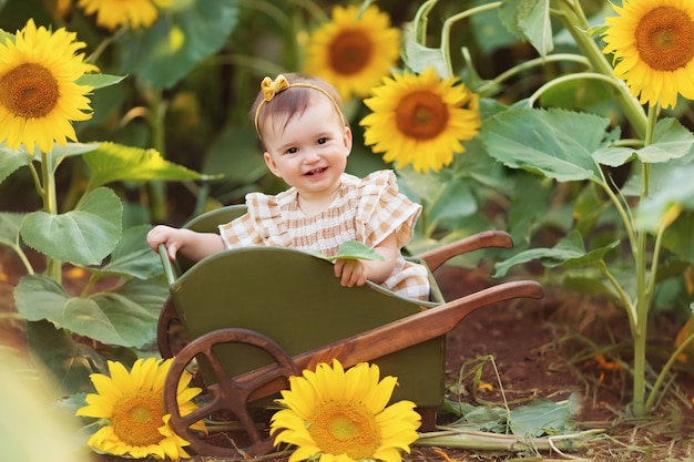 Gelukkig klein meisje met plezier onder bloeiende zonnebloemen onder de zachte stralen van de zon in een kar