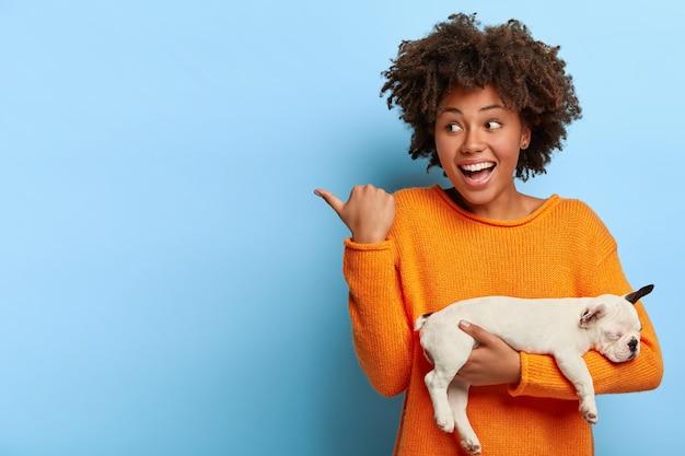 Gelukkig lachende vrouw toont richting naar dierenarts kliniek, tevreden met goede service, zieke puppy heel snel genezen, kleine witte bulldog bij de hand, draagt casual trui
