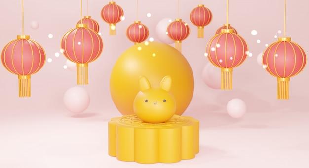 Gelukkig medio herfstfestival met leuk konijntje en chinese lantaarn, het 3d teruggeven.