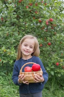 Gelukkig meisje met appels in mand in boomgaard