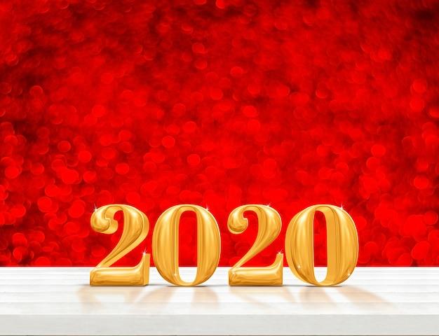 Gelukkig nieuw het jaarhout van 2020 (het 3d teruggeven) op witte houten lijst met fonkelende gouden bokehmuur