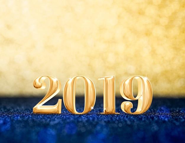 Gelukkig nieuw jaar 2019 jaar bij fonkelende gouden en marineblauwe glitter achtergrond