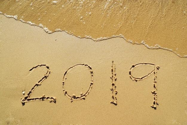 Gelukkig nieuw jaar 2019 met de golven verslaan op het strand en schelpfragmenten.