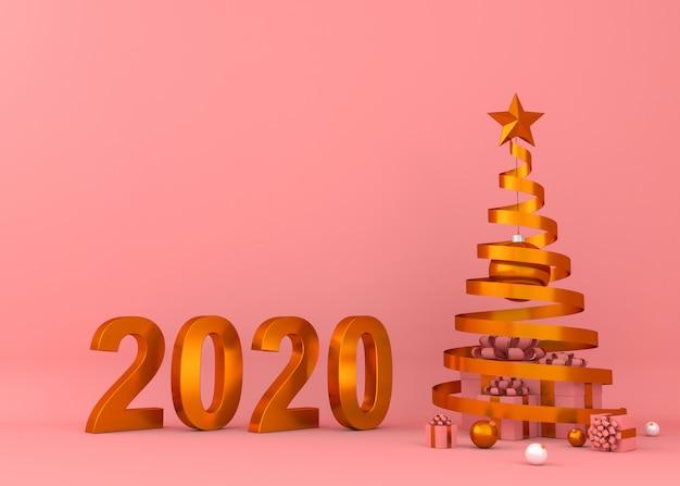 Gelukkig nieuw jaar 2020 creatieve 3d teruggevende illustratie als achtergrond.