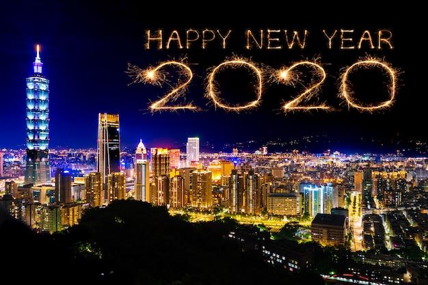 Gelukkig nieuw jaarvuurwerk 2020 over cityscape van taipei bij nacht, taiwan