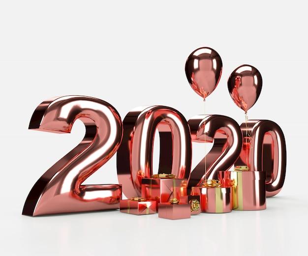 Gelukkig nieuwjaar 2020 3d-rendering