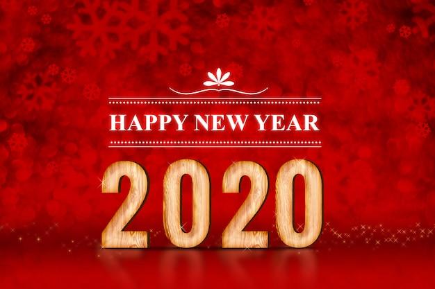 Gelukkig nieuwjaar 2020 aantal bij rode sneeuwvlokken die bokeh lichten fonkelen