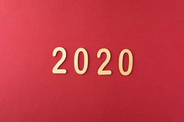 Gelukkig nieuwjaar 2020-datum op rood