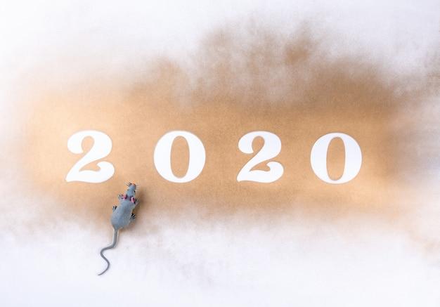 Gelukkig nieuwjaar 2020. feestelijke glanzende compositie