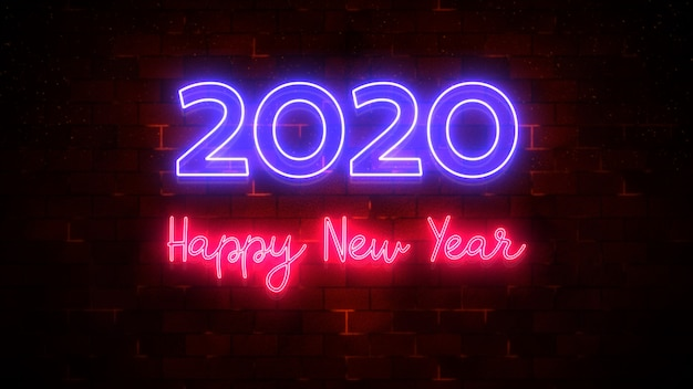 Gelukkig nieuwjaar 2020 neonlicht en deeltjesstroom, achtergrond nieuw jaarconcept, het 3d teruggeven