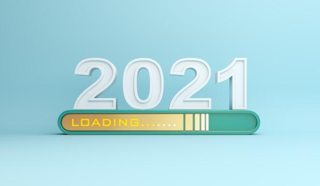 Gelukkig nieuwjaar 2021-decoratie met voortgangsbalk voor laden