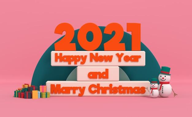 Gelukkig nieuwjaar 2021 en kerst trouwen met sneeuwpop in geschenkverpakking. 3d-weergave