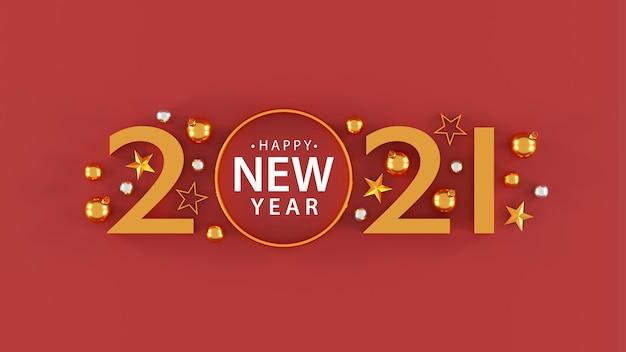 Gelukkig nieuwjaar 2021 met feestelijke decoratie