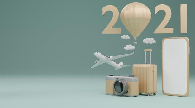 Gelukkig nieuwjaar 2021: mobiel model met wit scherm met vliegtuig