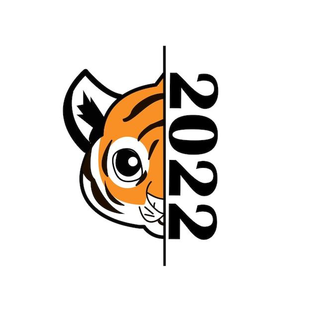 Gelukkig nieuwjaar 2022 jaar van tijger die tijger zwart-witte lijnen trekt met 2022 voor poster, brochure, spandoek, uitnodigingskaart. geïsoleerd op een witte achtergrond.