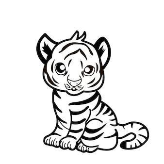 Gelukkig nieuwjaar 2022 jaar van tijger die tijger zwart-witte lijnen trekt voor poster, brochure, spandoek, uitnodigingskaart. geïsoleerd op een witte achtergrond. vakantie inhoud