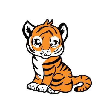 Gelukkig nieuwjaar 2022 jaar van tijger die tijger zwart-witte lijnen trekt voor poster, brochure, spandoek, uitnodigingskaart. geïsoleerd op een witte achtergrond.