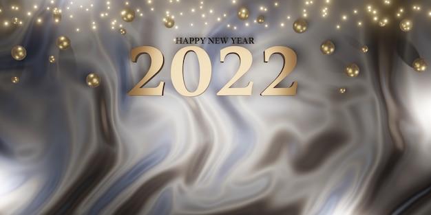 Gelukkig nieuwjaar 2022 kerstmis en nieuwjaar achtergrond 3d illustratie