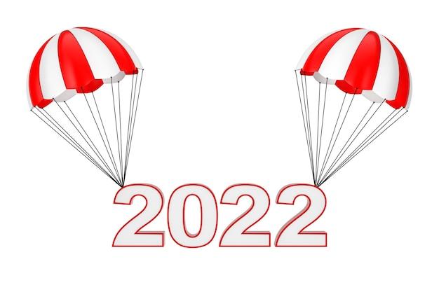 Gelukkig nieuwjaar 2022 teken vliegen op parachute op een witte achtergrond. 3d-rendering
