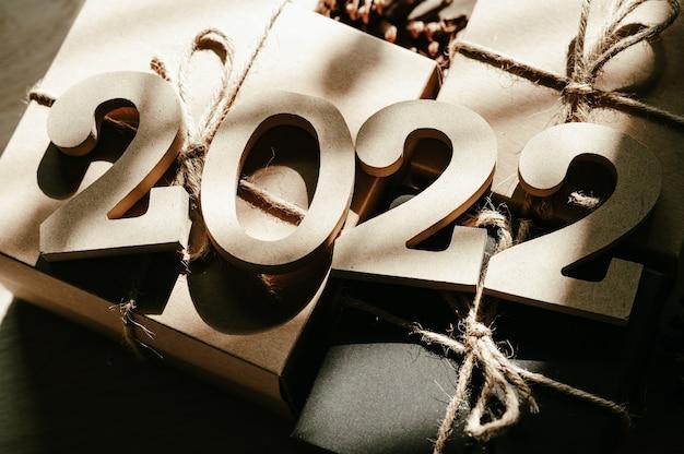 Gelukkig nieuwjaar 2022 vakantie achtergrond en banner.
