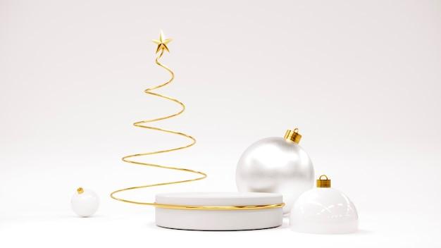 Gelukkig nieuwjaar achtergrond met podium kerstboom en geschenken