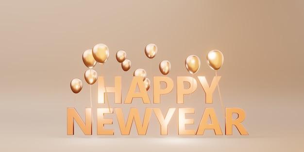 Gelukkig nieuwjaar bericht achtergrondafbeelding met ballonnen en linten 3d illustratie