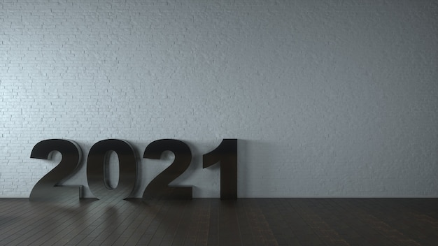 Gelukkig nieuwjaar concept. metalen nummers inscriptie 2021 in een lege grijze klassieke kamer. 3d-weergave.