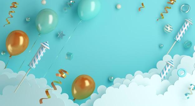 Gelukkig nieuwjaar decoratie achtergrond met ballon vuurwerk wolk