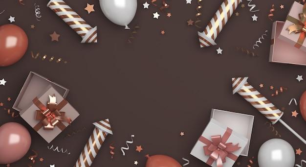 Gelukkig nieuwjaar decoratie met vuurwerk ballonnen geschenkdoos confetti