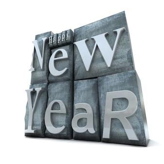 Gelukkig nieuwjaar geschreven in blokken met letterafdrukken