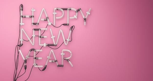 Gelukkig nieuwjaar neon light pink 3d
