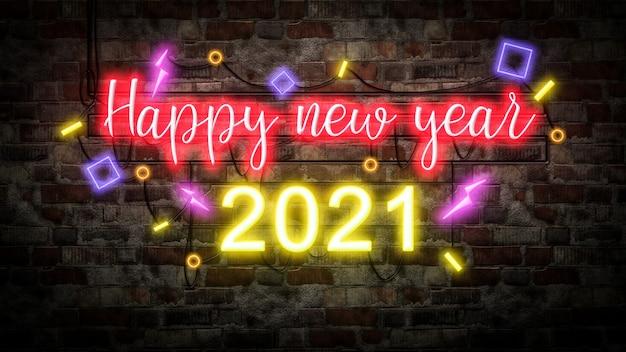 Gelukkig nieuwjaar neonlicht op bakstenen muur bcakground