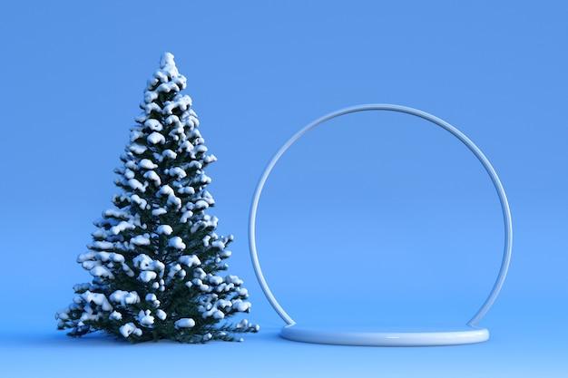 Gelukkig nieuwjaar of kerst 3d podium en winterdecoraties ontwerp met kerstboom