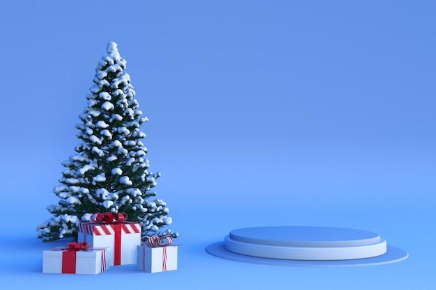 Gelukkig nieuwjaar of kerstmis 3d podium en winterdecoraties ontwerp voor wenskaartposter
