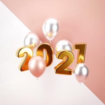 Gelukkig nieuwjaar. ontwerp metalen cijfers datum 2021 en heliumballon.