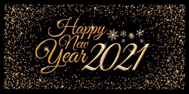 Gelukkig nieuwjaarsfeest met elegante gouden letters en sneeuwvlokken op een zwarte achtergrond