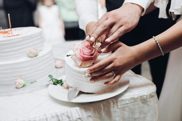 Gelukkig paar dat mes houdt en smakelijke huwelijkscake snijdt