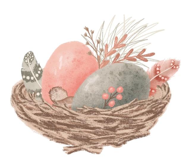 Gelukkig paasnest met vogeleieren met tak en veer die op witte hand getrokken illustratie wordt geïsoleerd