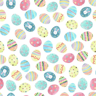 Gelukkig pasen. aquarel naadloze patroon van hand getrokken gekleurde paaseieren geïsoleerd op een witte achtergrond. voor wenskaartontwerp, behang, uitnodiging, menu