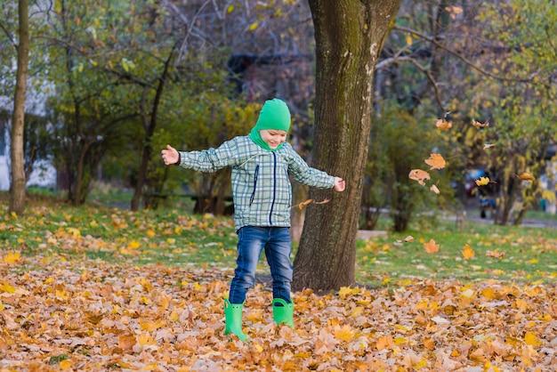 Gelukkig preteen jongen gooien esdoornbladeren in park