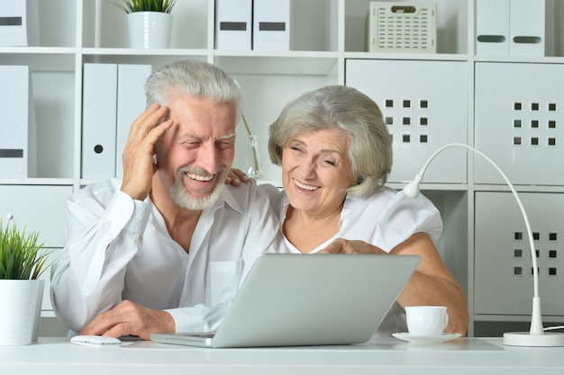Gelukkig senior koppel met laptop op kantoor